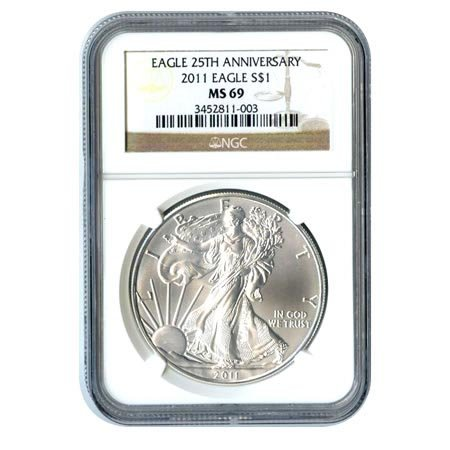 An American Silver Eagle, Graded MS69 by the NGC